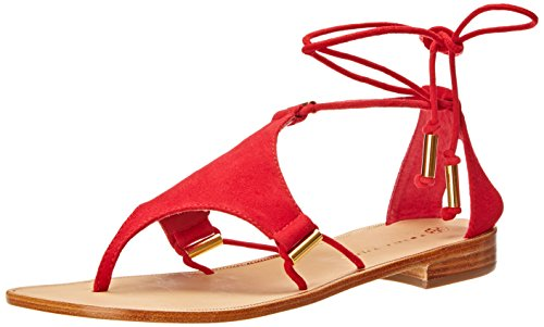Trina Turk Women's Bayley Dress Sandal, Poppy Suede/Gold Tubes, 5.5 M US