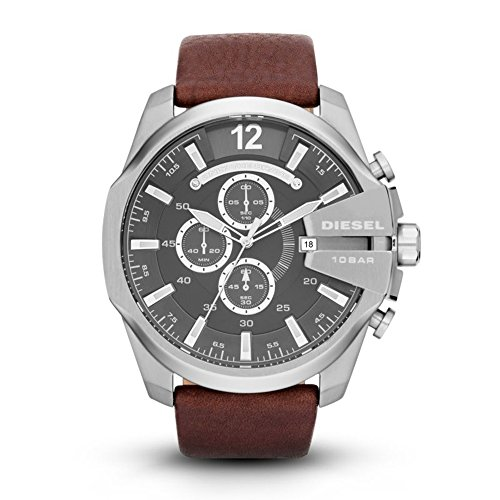 Diesel Men's Mega Chief Quartz Stainless Steel and Leather Chronograph Watch, Color Silver-Tone, Brown