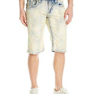 Rock Revival Men's Jean Shorts, Acid Blue, 32