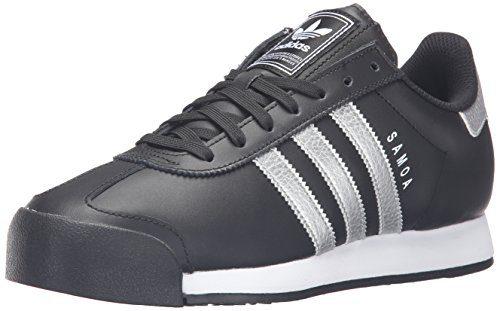 adidas Originals Men's Samoa Retro Fashion Sneaker, Black/Metallic Silver/White, 10 M US