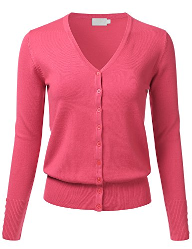 FLORIA Women Button Down V-Neck Long Sleeve Soft Knit Cardigan Sweater CORAL2 1XL