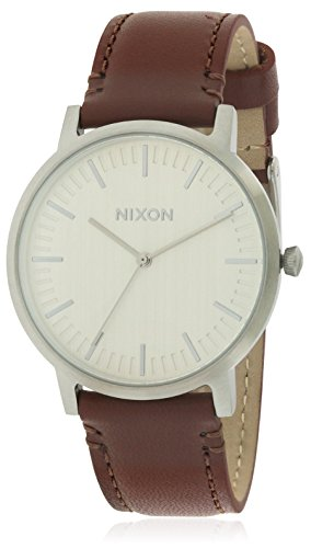 Nixon Porter Leather Silver / Brown Leather Strap Men's Watch