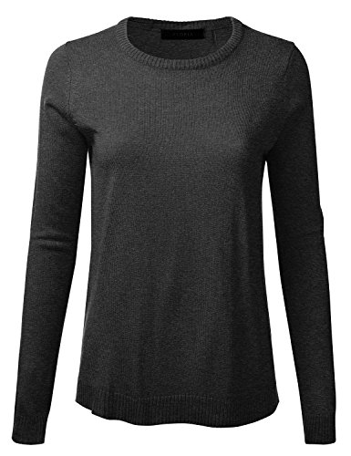 FLORIA Womens Crewneck Long Sleeve Soft Pullover Knit Sweater Top w/Ribbed Trim HEATHERCHARCOAL M