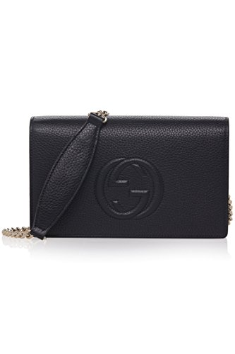 5cbbf678a1d158 Gucci Soho Mini Black Round Light Gold Disco Zip Italy Leather Handbag Bag  New