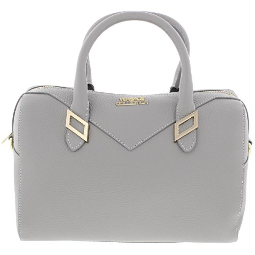 524afbb0c79 Versace Collection Womens Leather Pebbled Satchel Handbag Gray Medium