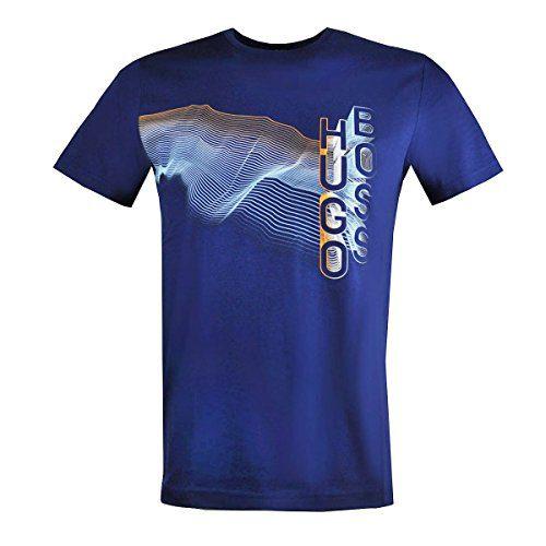 BOSS Green Men's Tee 3 HB Multicolor Artwork T-Shirt, Blue Dark Blue, Medium