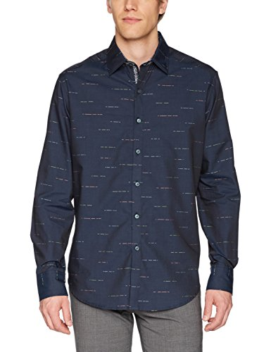 Robert Graham Men's Port Vila Long Sleeve Classic Fit Shirt, Navy, Medium
