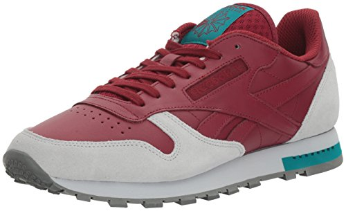 Reebok Men's CL Leather Grey Fashion Sneaker, Collegiate Burgundy/Cloud Grey/Alloy/Teal Green, 10 M US