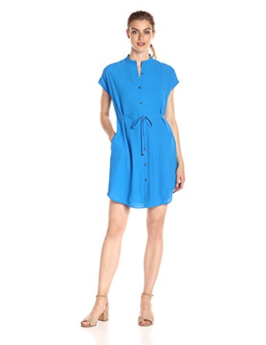 A|X Armani Exchange Women's Crew Neck Waist Tie Button up Above The Knee Dress, Cobalt, 10