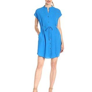 A|X Armani Exchange Women's Crew Neck Waist Tie Button up Above The Knee Dress, Cobalt, 10