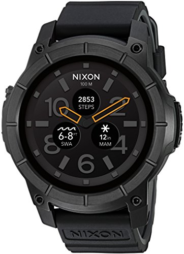 Nixon Mission Action Sports Smartwatch. All Black Men's Watch (48mm. Black Face/Black Silicone Band)