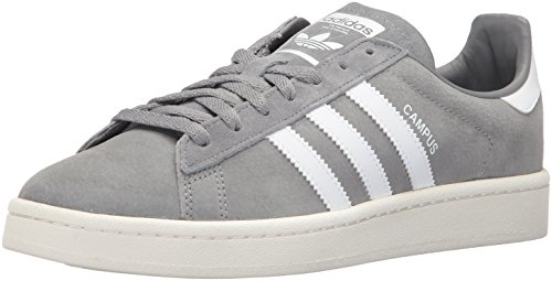 adidas Originals Men's Campus Sneakers, Grey Three/White/Chalk White, (9 M US)