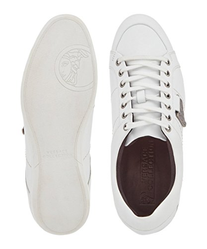 Versace Collection Men's White Leather Plague Sneakers (44 EU/11 US)