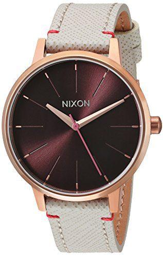 Nixon Women's 'Kensington Leather' Quartz Stainless Steel Casual Watch, Color:Champagne