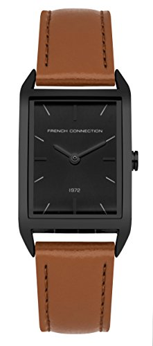 French Connection Women's Quartz Metal and Leather Casual Watch, Color Brown