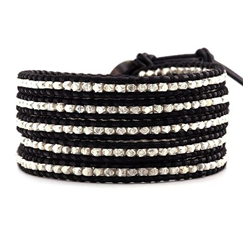 Chan Luu Sterling Silver Wrap Bracelet on Black Leather