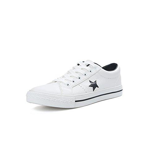 Womens Men Fashion Lace Canvas Shoe Classic Sneaker (Black 39)
