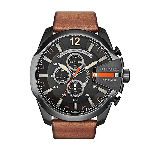 Diesel Men's Mega Chief Quartz Stainless Steel and Leather Chronograph Watch, Color Black, Brown (Model: DZ4343)