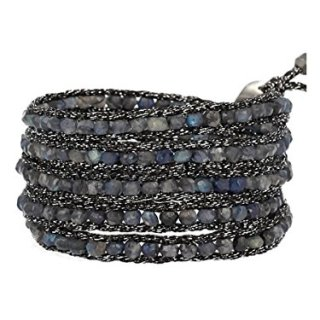 Chan Luu Blue Labradorite Wrap On Metallic Black Mokuba Ribbon Bracelet
