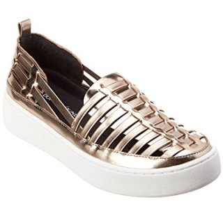 Donald Pliner Cierra Leather Sneaker, 9.5, Metallic