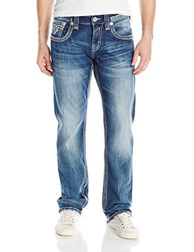 Rock Revival Men's Straight Fit Jean, Medium Blue, 30