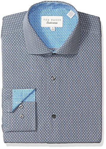"Ted Baker Men's Oronoco Slim Fit Dress Shirt, Grey, 16.5"" Neck 34-35"" Sleeve"