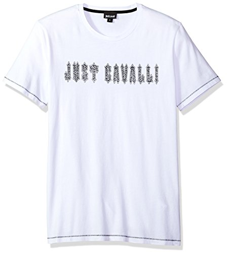 Just Cavalli Men's Fitted Tee, White, XL