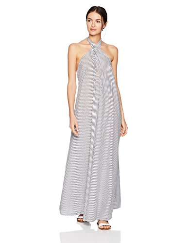 Mara Hoffman Women's Lucille Halter Cover up Dress, Stripe Black White, Small