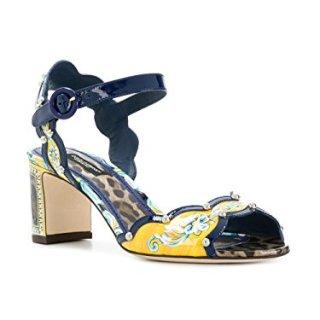Dolce e Gabbana Women's Yellow/Black Leather Sandals
