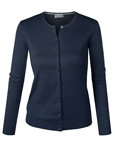BIADANI Women Round Neck Button Down Soft Classic Knit Cardigan Sweater Navy 1X-Large