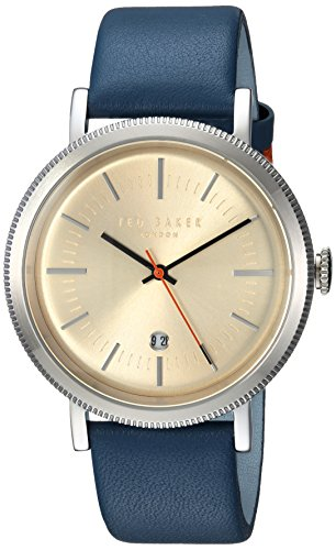 Ted Baker Men's 'CONNOR' Quartz Stainless Steel and Leather Casual Watch, Color:Blue