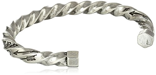 "Giles and Brother Men's""G&B"" Twisted Silver Oxide Cuff Bracelet"