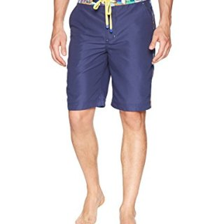 Robert Graham Men's Dos Rios Woven Swim Board Short, Navy, 38
