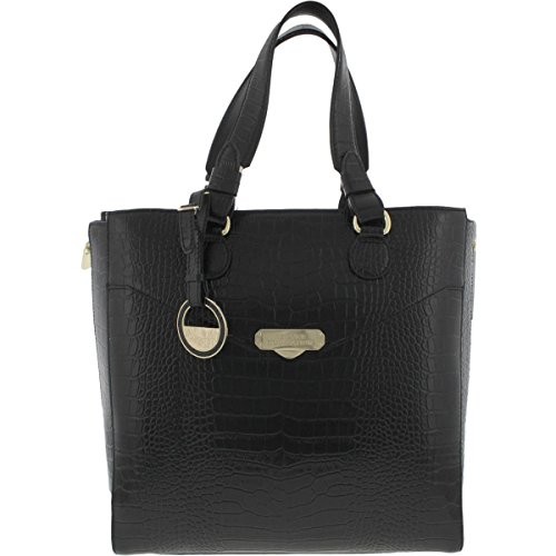Versace Collection Womens Leather Embossed Tote Handbag Black Large