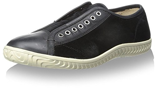 John Varvatos Men's Hattan Laceless Low Top Sneaker, Black, 7 M US
