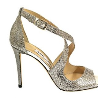 JIMMY CHOO Women's Emily100 Silver Leather Sandals