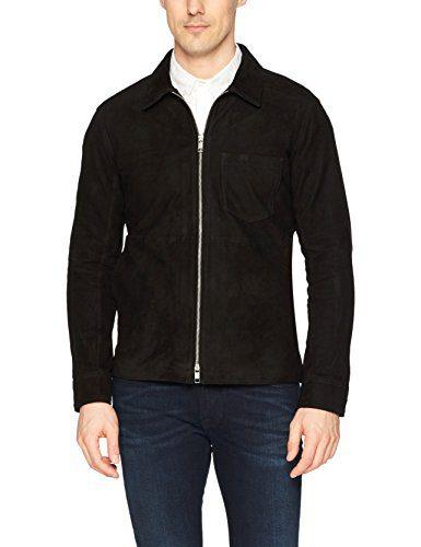 J.Lindeberg Men's Suede Zip Overshirt, Black, Medium