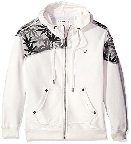 True Religion Men's Marijuana Leaf Print Zip Hoodie, White/Multi, L