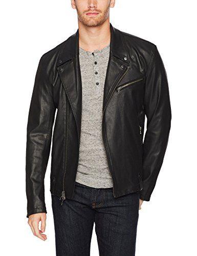 John Varvatos Men's Coated Moto Jacket with Asymmetrical Zip Closure, Black, Small