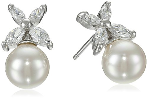 Majorica 8mm White Round Cubic Zirconia Earrings