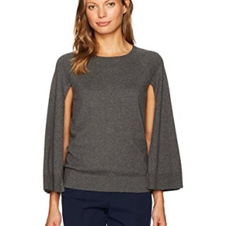Trina Turk Women's Fern Dell Cape Cotton Sweater, Charcoal, XS