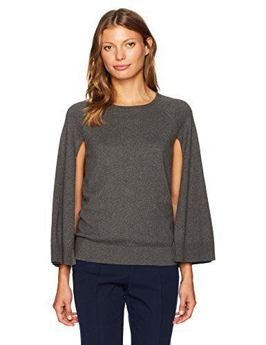 Trina Turk Women's Fern Dell Cape Cotton Sweater, Charcoal, XS