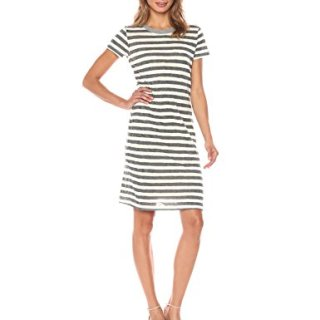 Stateside Women's Painterly Charcoal Stripe S/s Dress, Cream, S