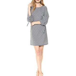 A|X Armani Exchange Women's Small Plaid Work Dress, Blue/White, 6