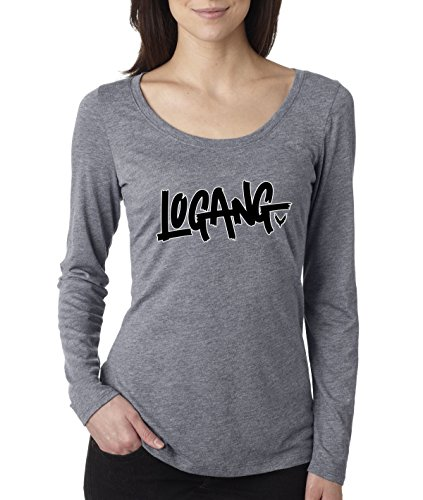 New Way 826 - Women's Long Sleeve T-Shirt Logang Logan Paul Maverick Savage XL Heather Grey