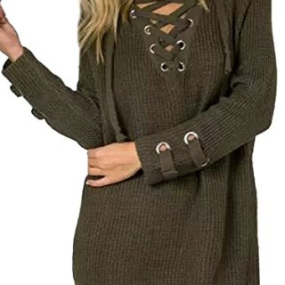 Relipop Women's Casual Loose Long Sleeve Knit Sweater Pullover Tops (Small, Brown)