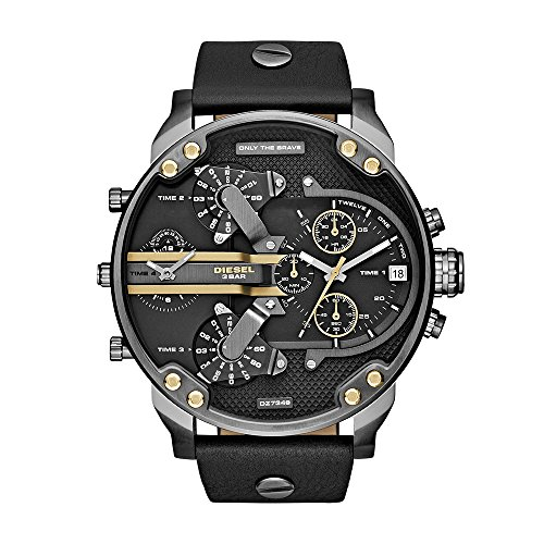 Diesel Men's Mr Daddy 2.0 Quartz Stainless Steel and Leather Chronograph Watch, Color Grey, Black (Model: DZ7348)