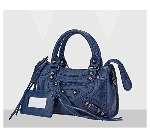 Emio Women Leather Black Studed Shoulder Bag Mini Size 9 Colors (Mini Size, Navy Blue)