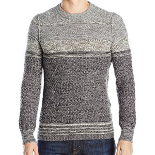 BOSS Orange Men's Agruade Ink Slub Sweater, Black, Large
