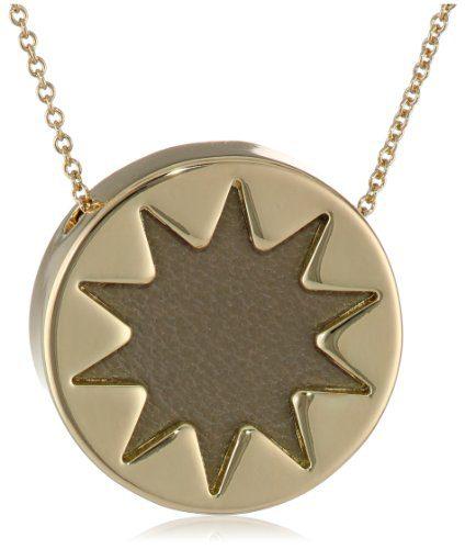 "House of Harlow Khaki Mini Sunburst Pendant Necklace, 18"""